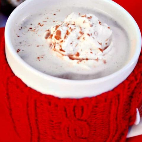 Frozen Whipped Cream disks topped on a hot beverage