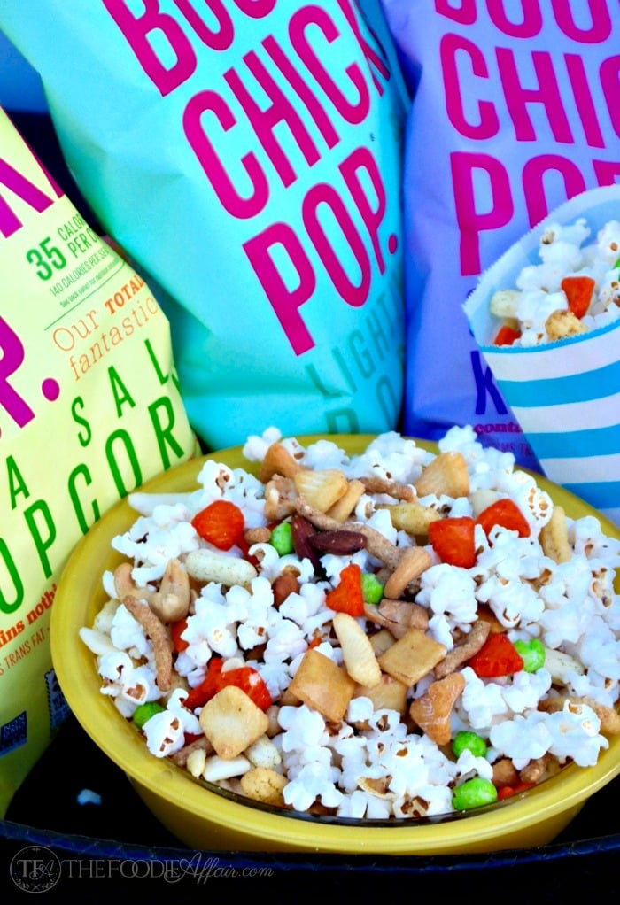Easy Asian popcorn snack mix to share at a party, family game night or while watching sports! This healthy BOOMCHICKAPOP is made with simple ingredients and will be your favorite low calorie snack! The Foodie Affair