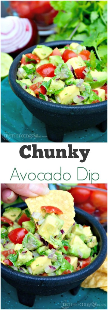 This simple Chunky Avocado Dip can be eaten with chips or served over a variety of dishes adding a healthy layer of fresh ingredients! The Foodie Affair