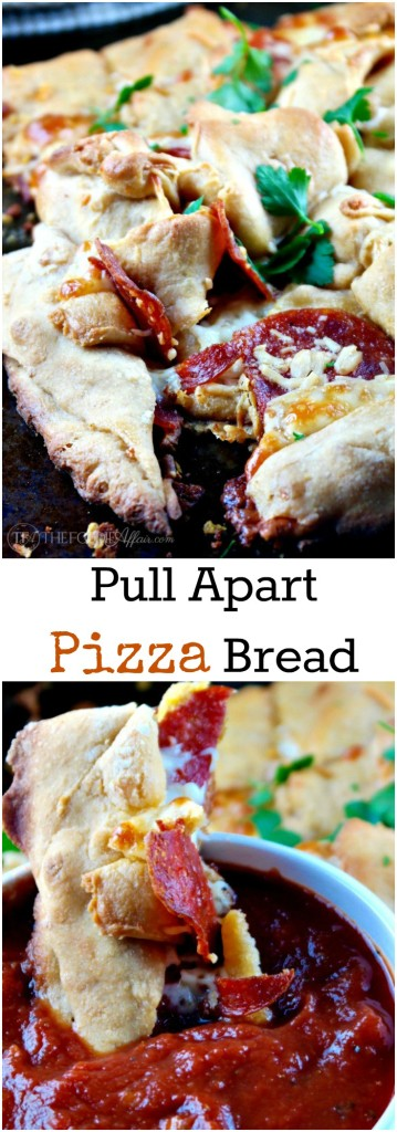 This pull apart pizza bread is packed with cheese and pepperoni and wrapped in pizza dough! Dip in pizza sauce! The Foodie Affair