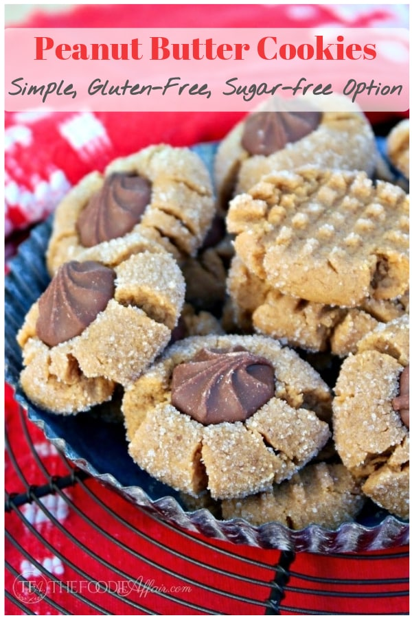 Only five ingredients needed to make these flourless peanut butter cookies. Keep them simple with the traditional criss-cross pattern or add chocolate! #flourless #cookies #peanutbutter
