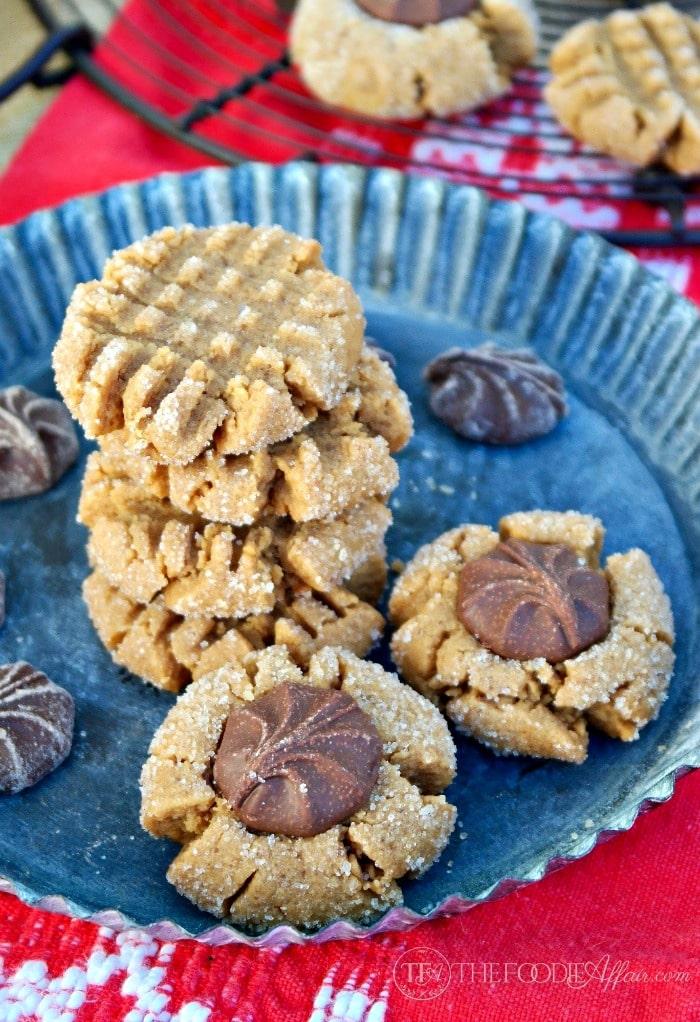 Flourless peanut butter cookies on a tin platter