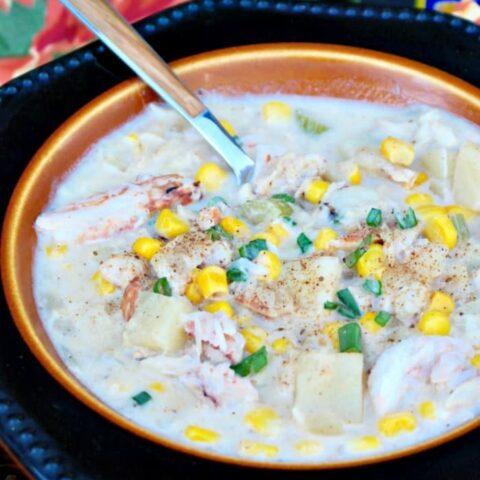 Crab Chowder in a black bowl