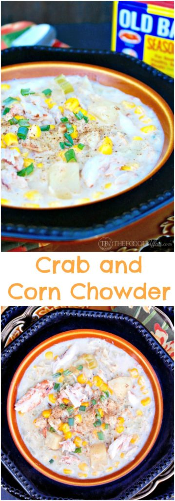 Corn and Crab Chowder is a creamy and simple dish that is on the table in 30 minutes! The Foodie Affair