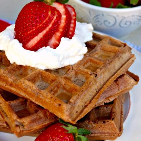 Delicate Whole Wheat Chocolate Waffles topped with whipped cream