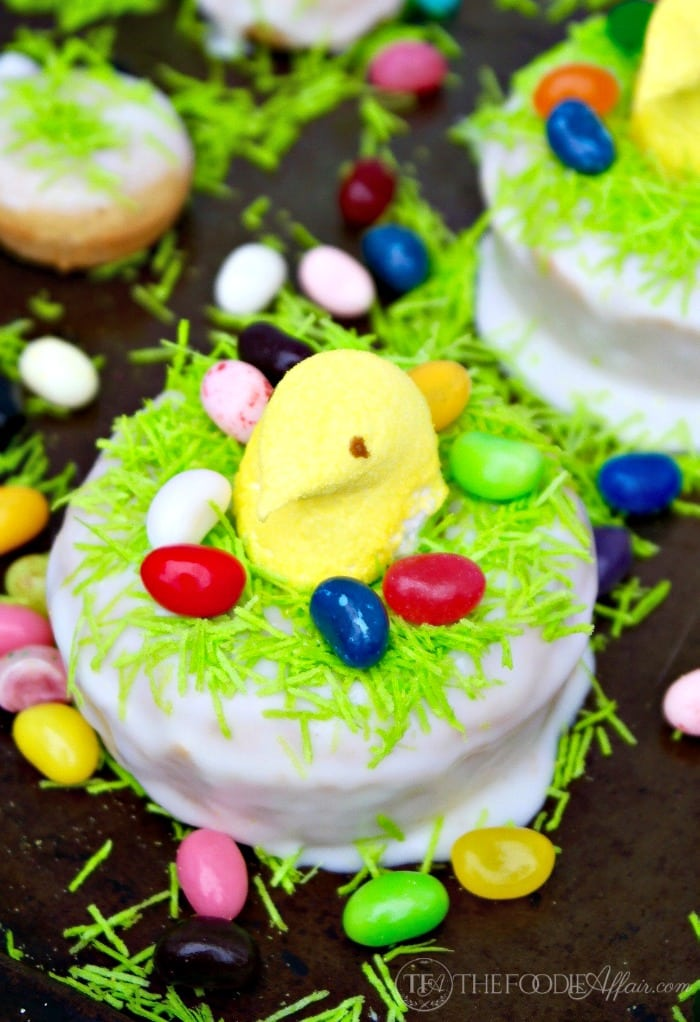 Easter Peeps lemon donut baked and decorated with jelly beans