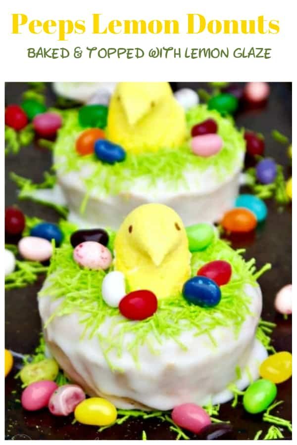 Peeps lemon donuts with homemade lemon glaze peeking out of a nest. These treats are baked, not fried, fun to make with kids and delicious! #peeps #Easter #brunch #lemon #donuts #baked   www.thefoodieaffair.com