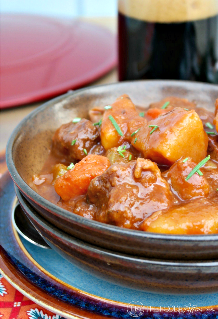 Rich hearty Beef Stout Stew with potatoes, carrots and celery for a complete Irish main dish! The Foodie Affair