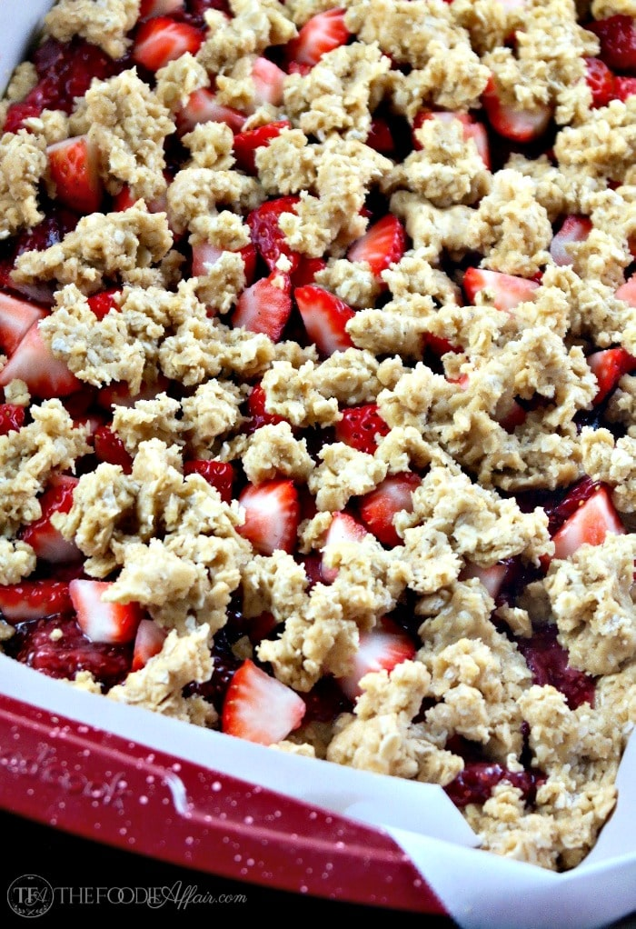 Strawberry oat bars in a baking pan