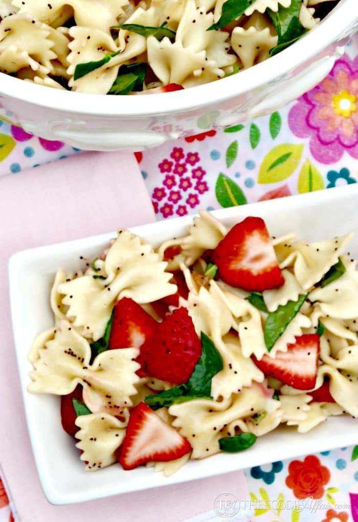Strawberry Spinach Pasta Salad