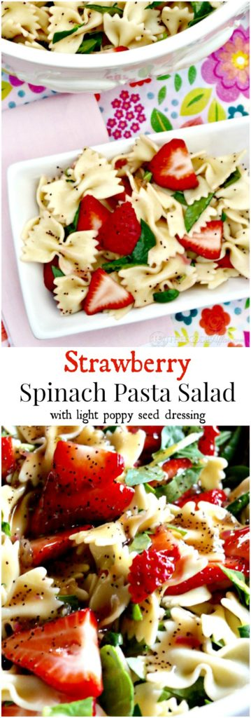 Strawberry Spinach Pasta Salad with a light poppy seed dressing. Great dish to add to cookouts and potlucks! The Foodie Affair