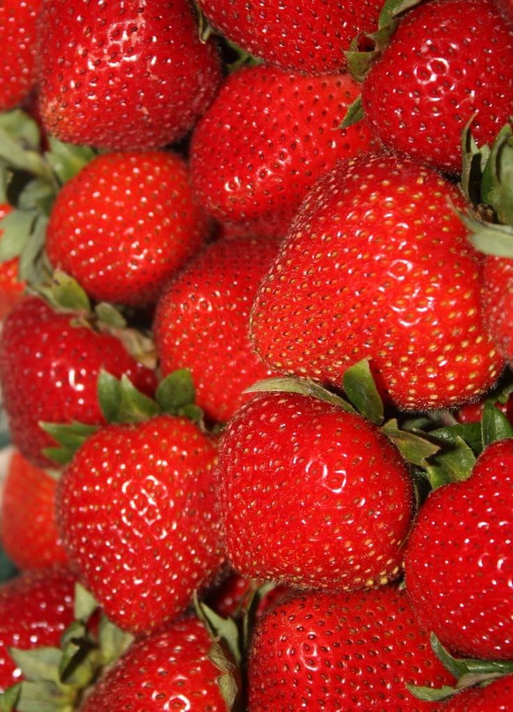 fresh red strawberries for chia jam