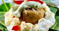 Crabless Cakes in Clouds with an avocado cream sauce makes a great appetizer or addition to a brunch menu! The Foodie Affair