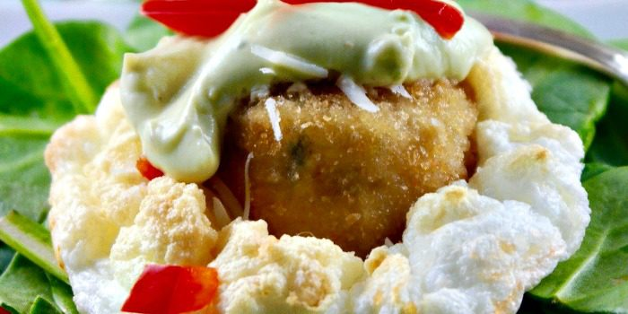 Crabless Cakes in Clouds with Avocado Sauce
