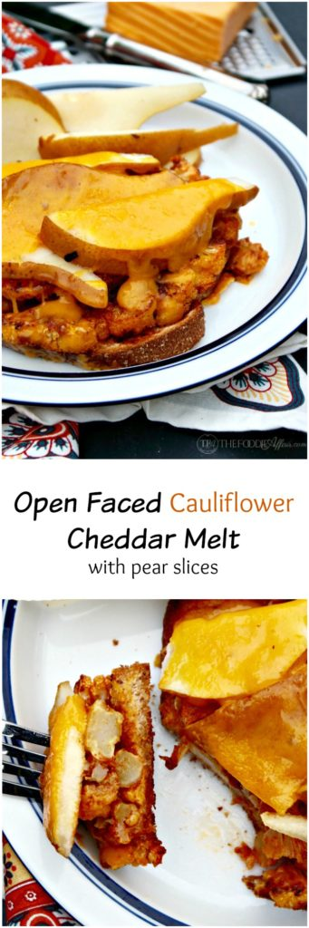 Open Faced Cauliflower Cheddar Melt with slices of pears and honey mustard! This hearty and satisfy vegetarian sandwich is a great meatless Monday meal! The Foodie Affair