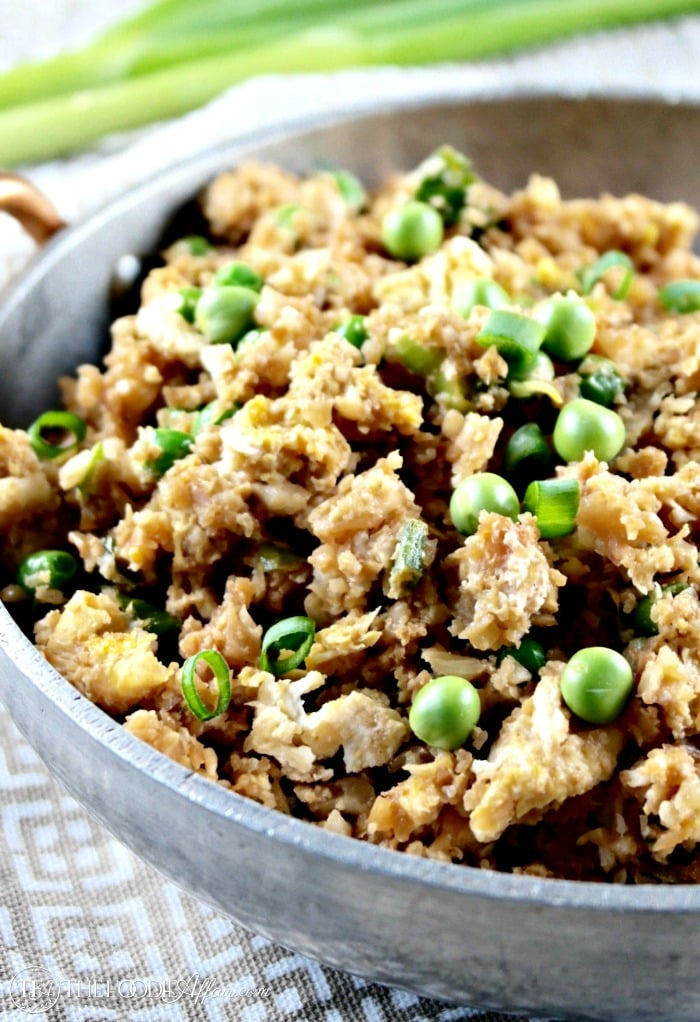 Easy Cauliflower Fried Rice in a skillet