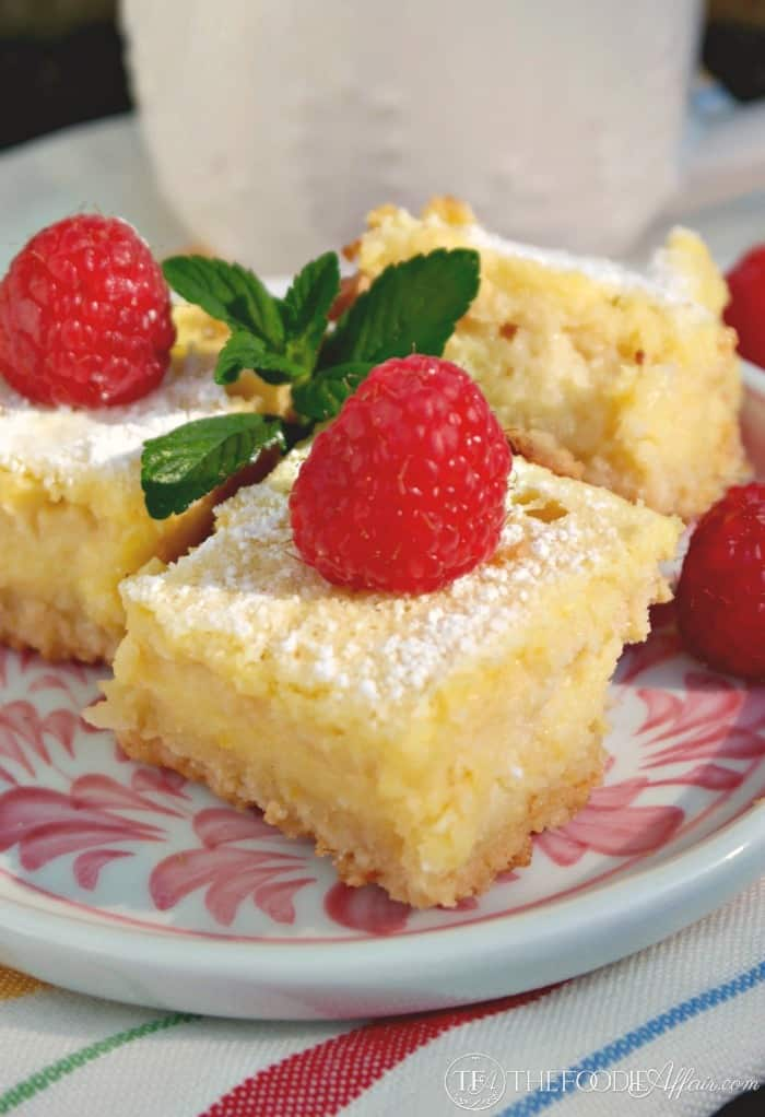 Low Carb and Gluten Free Lemon Bars on pink and white plate