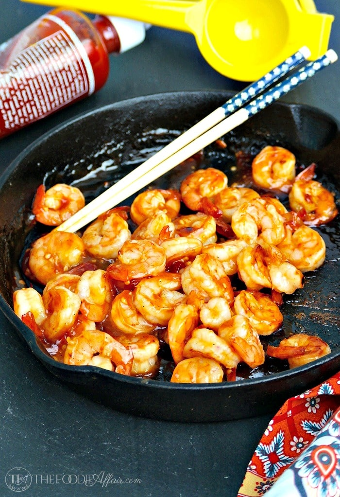 Spicy tequila shrimp marinaded in fresh lime juice, honey, hot sauce and blanco tequila! This simple dish is delicious over rice, pasta or served as an appetizer! The Foodie Affair