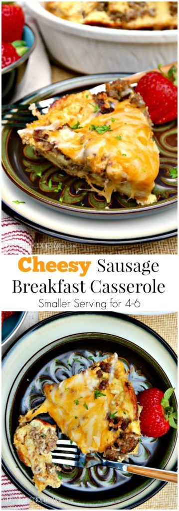 This Cheesy Sausage Breakfast Casserole is the perfect addition to your brunch menu! This smaller size casserole will serve 4-6! The Foodie Affair