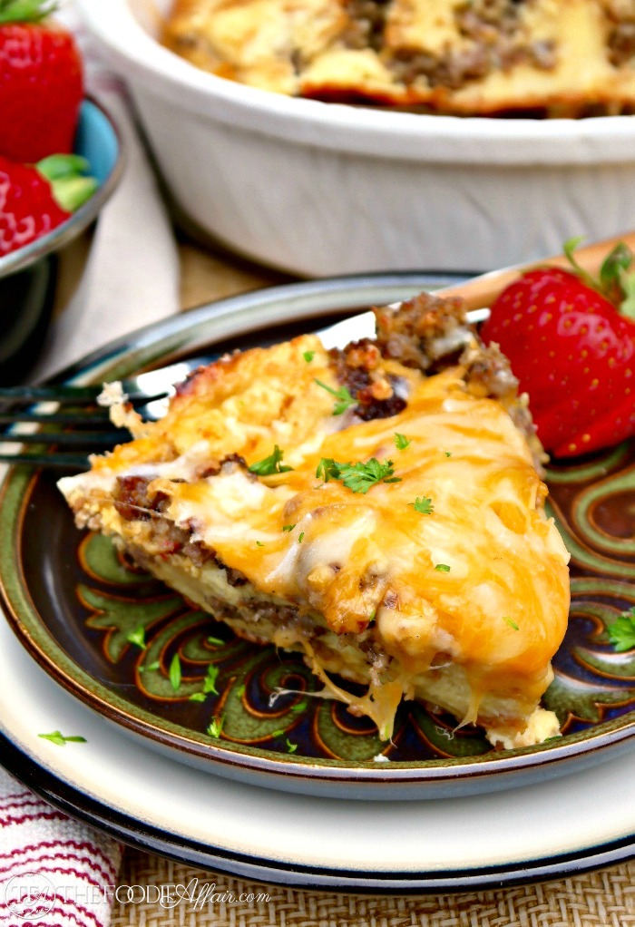 Easy Sausage Breakfast Casserole on a brown and green plate