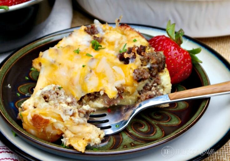 Sausage Breakfast Casserole is the perfect addition to your brunch menu! This smaller size casserole will serve 4-6!