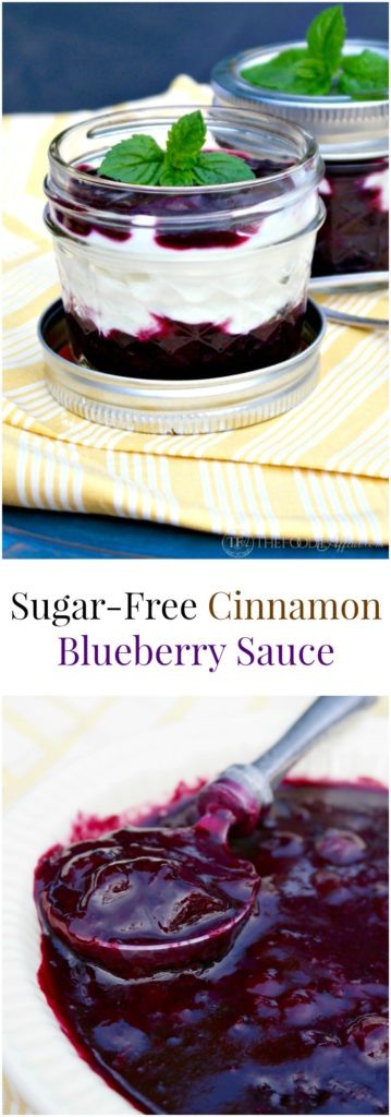 Cinnamon blueberry sauce made without sugar! Add this all-purpose sauce to pancakes, waffles, yogurt or use it as a filling for pie!