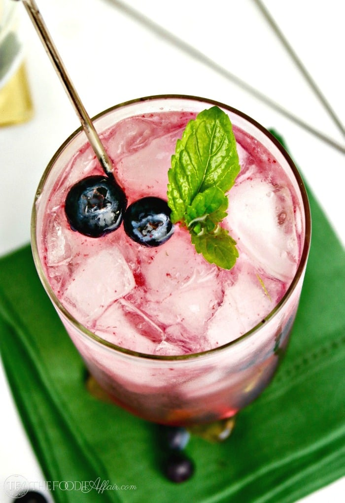 Blueberry Mojito with fresh blueberries