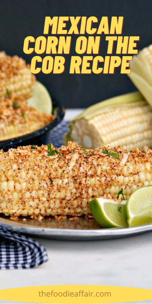 Mexican street corn on the cob topped with butter, spices, Mexican cheese and topped with lime juice. Cook in a slow cooker or on the stove top for tender corn. #BBQ #summer #corn #Mexican