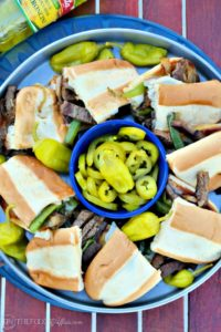 Cheese Steak Sandwich traditional Philly-style with beef, grilled onions, and melted cheese! Elevate the flavor with jalapeno peppers and peperoncinis!