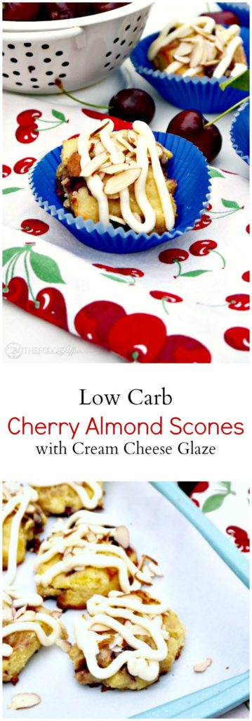 Tender Cherry Almond Scones made with fresh cherries! These scones are low carb, gluten-free and topped with a delicious sugar free cream cheese glaze!