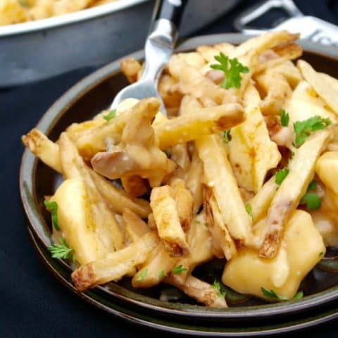 poutine gravy fries on a brown plate