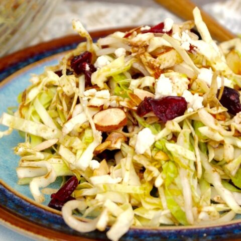 Cabbage Salad Recipe on a blue plate