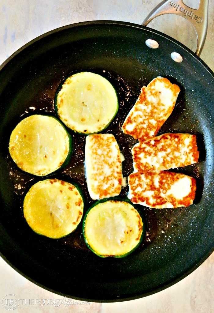 Pan Fried Halloumi Cheese and Zucchini over Pasta