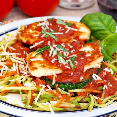 Pan Fried Halloumi Cheese over zucchini