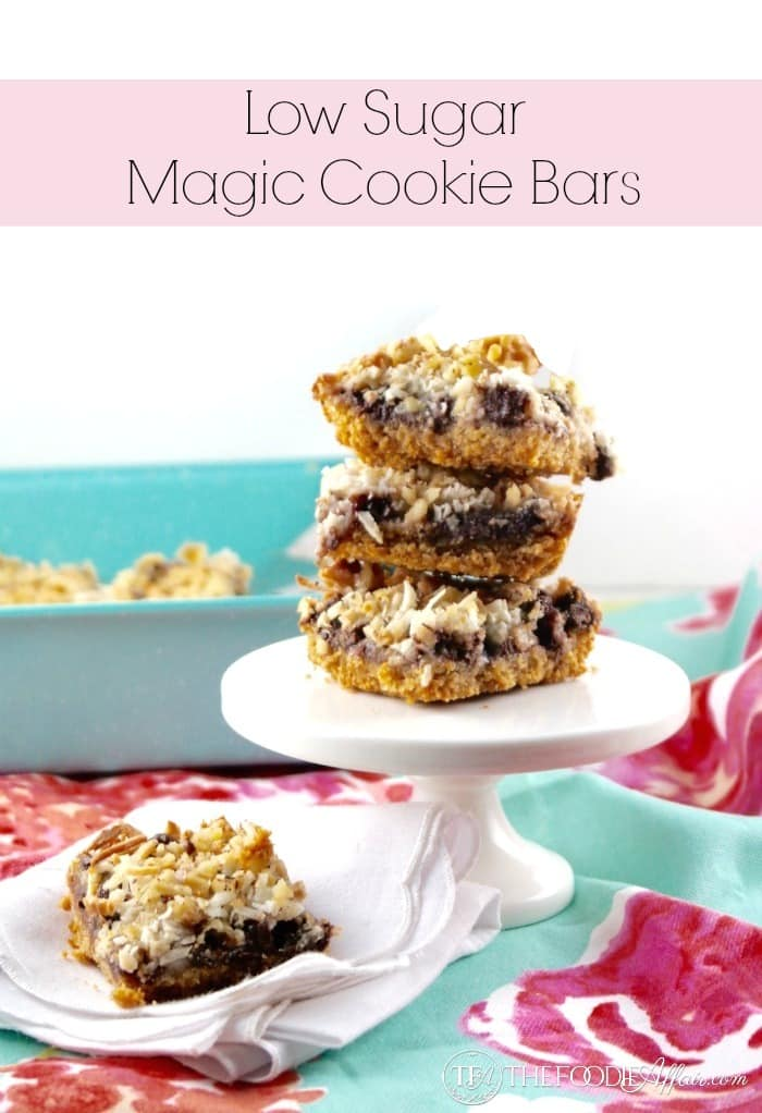 Low Sugar Magic Cookie Bars made with homemade sugar free condensed milk and chocolate chips made with stevia!