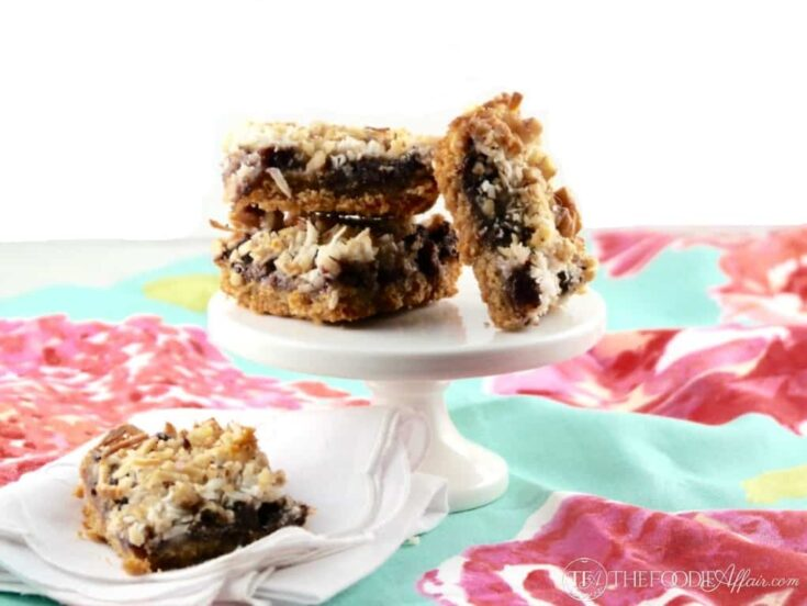 Magic Cookie Bars made with homemade sugar free condensed milk and chocolate chips made with stevia!