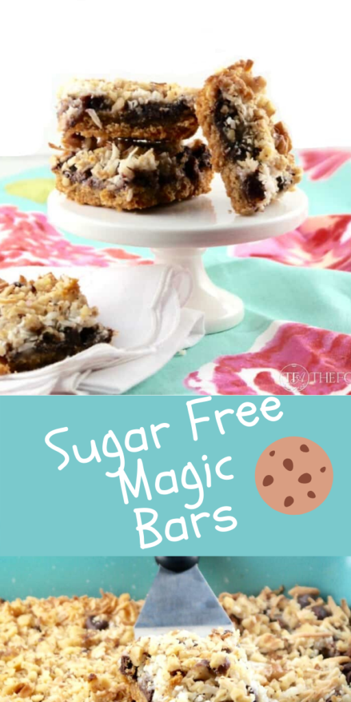 Delicious magic cookies bars. This classic recipe is made without granulated sugar. Still the same delicious flavor but without all the carbs! #cookie #bake