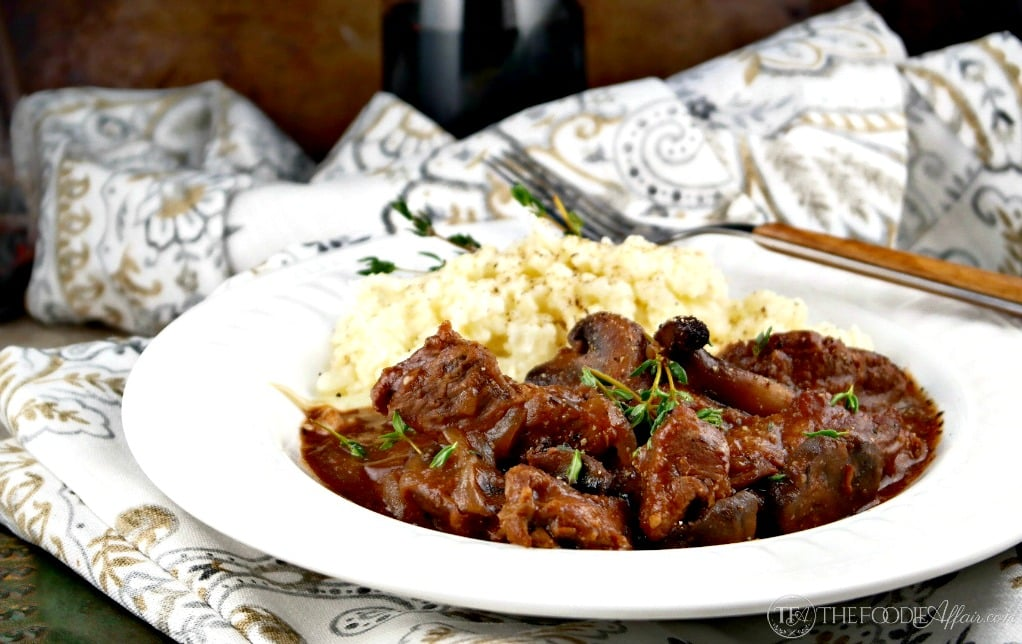 Slow cooked sirloin tips with mushrooms and onions simmered in wine.