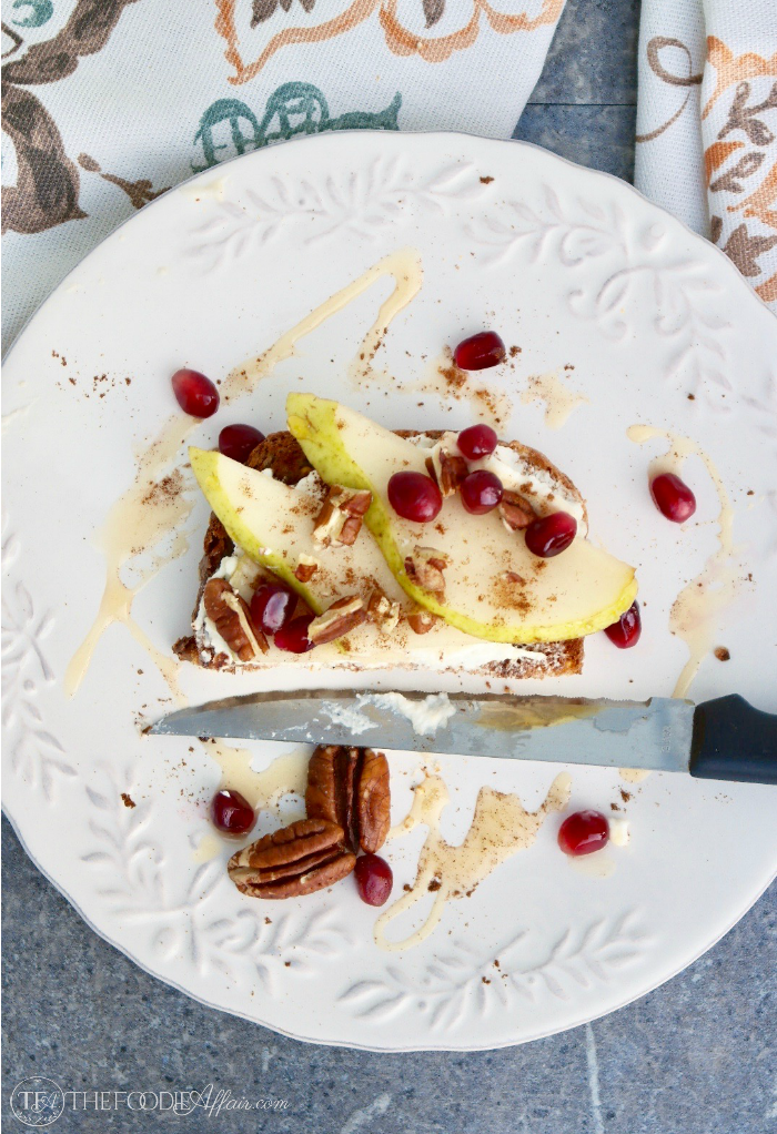 Ricotta Pear Toast Topped with Honey & Pecans