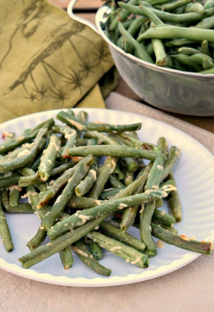 Parmesan Roasted Green Beans seasoned with himalayan salt and garlic ...