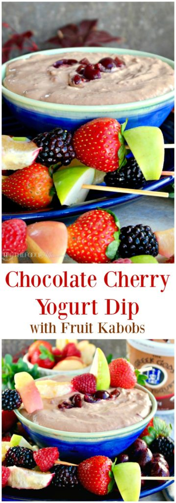 Chocolate Cherry Yogurt Dip with Fruit Kabobs #fruit #dip #yogurt #Ad | thefoodieaffair.com