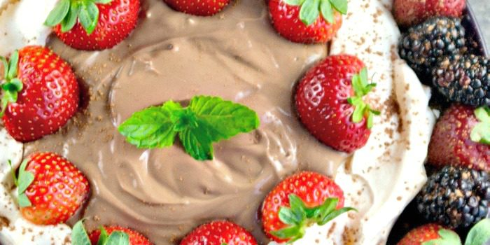 Easy Pavlova Dessert filled with Chocolate Strawberry Yogurt