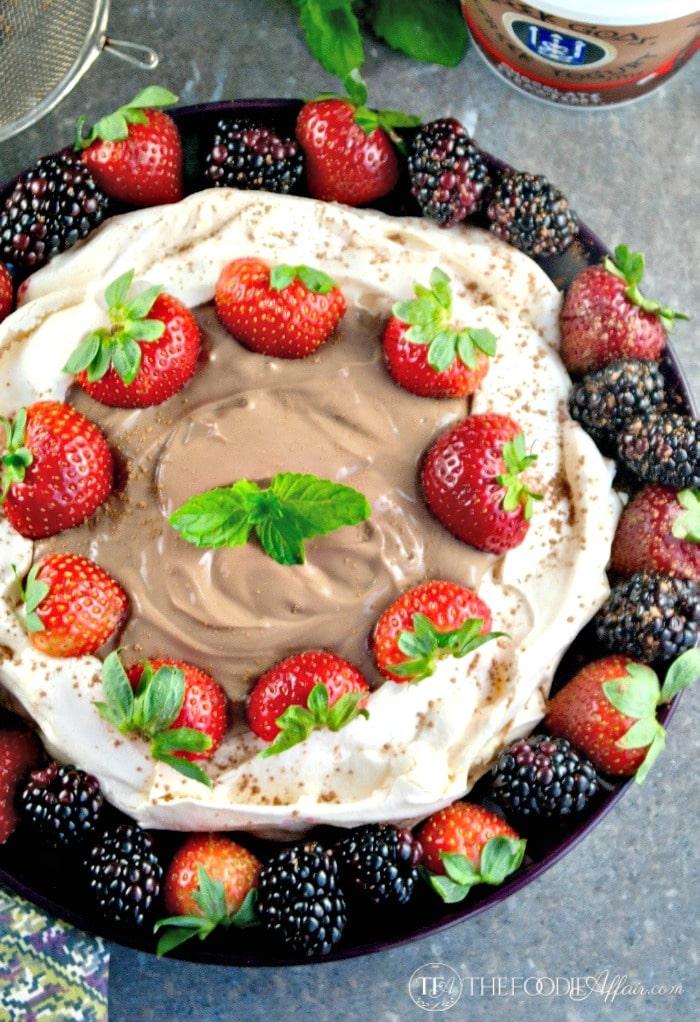 Easy Pavlova Dessert filled with Chocolate Strawberry Yogurt