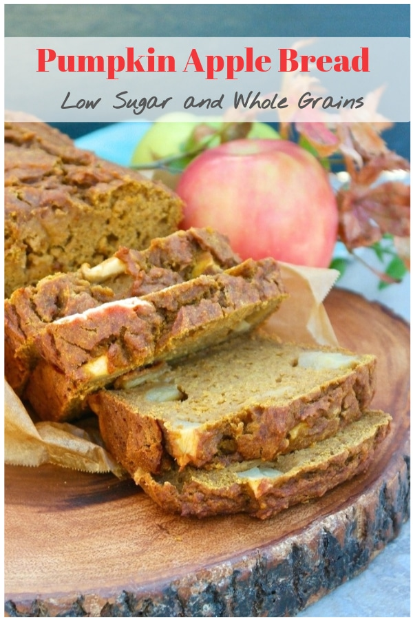 Pumpkin apple bread made with half the sugar of traditional recipes!  This delicious pumpkin bread is a tasty breakfast or snack.  Turn a loaf into muffins if you would like! #bread #pumpkin #bake #apple #homemade #fall #healthyrecipe