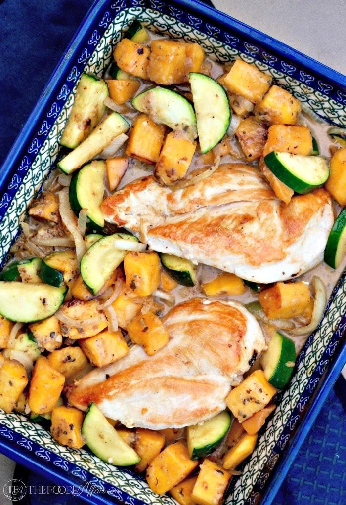 Chicken and Butternut Squash recipe in a blue casserole dish