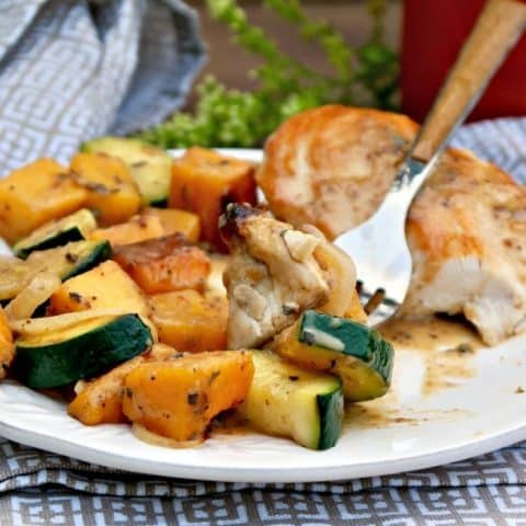 Chicken and butternut squash on a white dinner plate