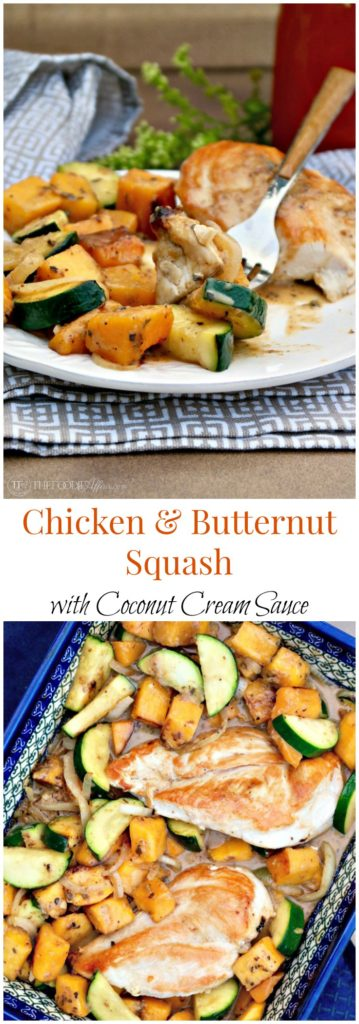 Chicken and Butternut Squash with Coconut Cream Sauce! This easy and healthy Indian-inspired dish is seasoned with warm spices like coriander and nutmeg.