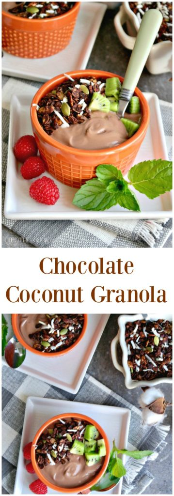 Chocolate coconut granola with pumpkin seeds, carob nibs and coconut flakes #granola #yogurt | thefoodieaffair.com
