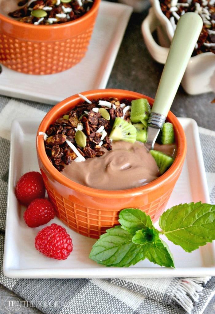Chocolate Coconut Granola with Chocolate Mocha Greek Yogurt