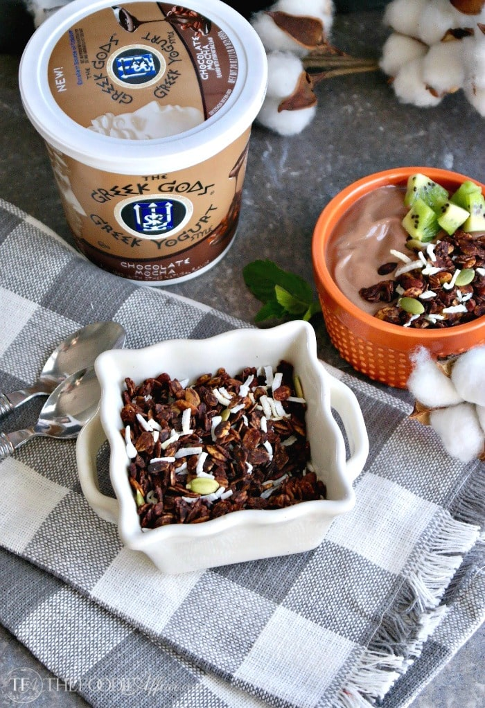 Chocolate coconut granola with pumpkin seeds, carob nibs and coconut flakes #granola #yogurt | thefoodieaffair.com